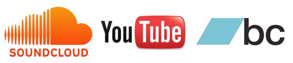 SoundCloud, YouTube and BandCamp logos