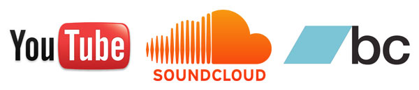YouTube, SoundCloud and BandCamp logos