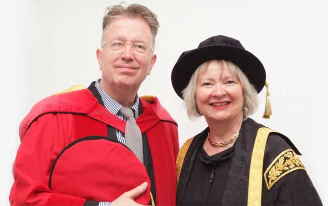 Dr Tom Robinson with Vice-Chancellor Prof Ruth Farwell