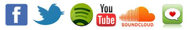 Facebook, Twitter, Spotify, YouTube, Soundcloud, Hypem
