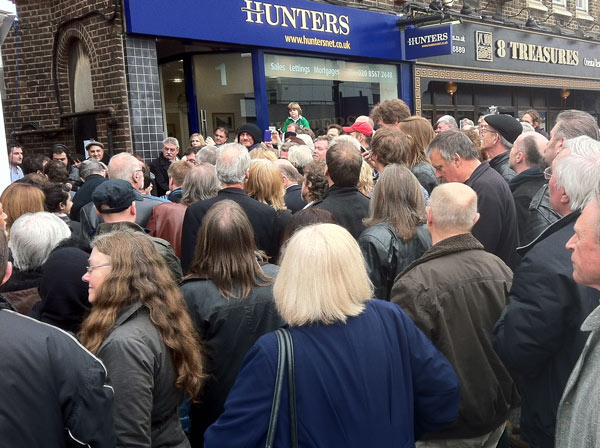 Crowd gathered outside the old Ealing Club premises