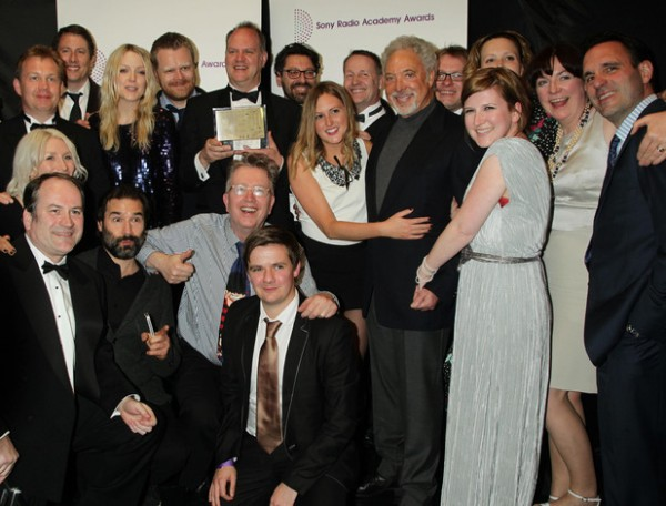Members of the 6 Music team with Tom Jones at the 2012 Sony Academy Radio Awards