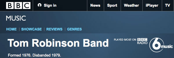 BBC Music website page on Tom Robinson Band