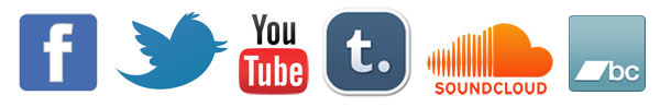 Facebook, Twitter, Youtube, Tumblr, Soundcloud, Bandcamp