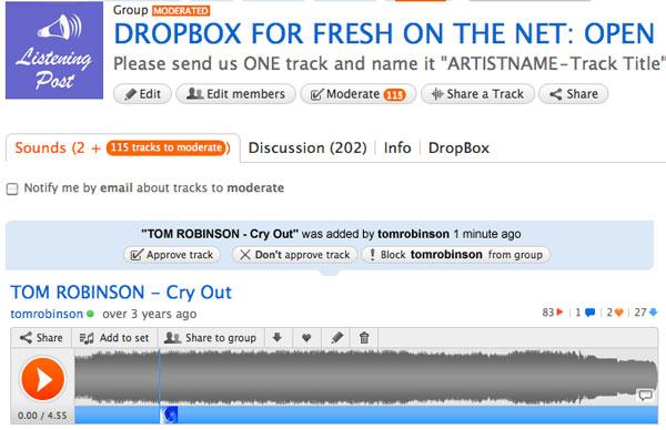 Moderation page on Soundcloud