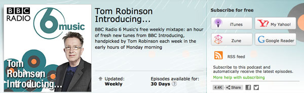 Download or subscribe to Tom's BBC Introducing Mixtape