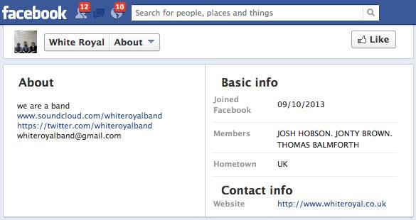 White Royal Facebook biog