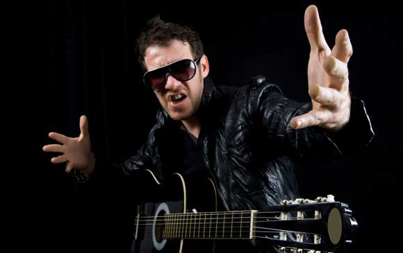 naff guitarist in a leather jacket