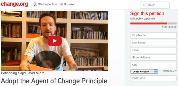 Agent Of Change petition