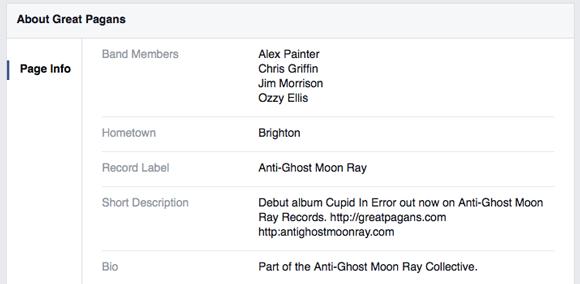 Great Pagans Facebook biog