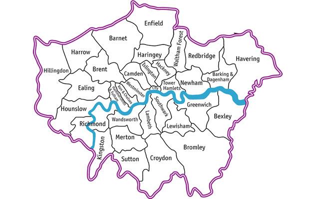 Map Of London Boroughs