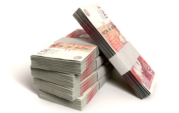 Bundles of Fifty-Pound Notes