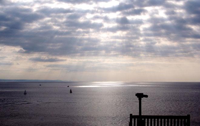 Crepuscular rays over Aberystwyth