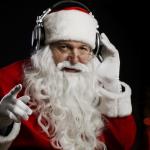 Santa Listening on Headphones
