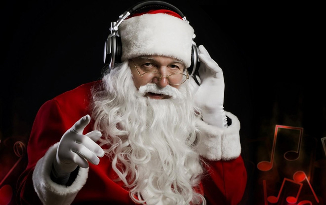 Santa Listening on Headphones