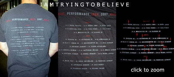 NiN 2007 tour T-Shirt with message IAMTRYINGTOBELIEVE