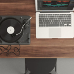 Listening with laptop headphones and turntable