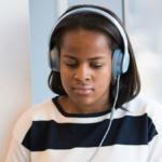 Girl wearing headphones