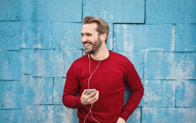 Man listening on headphones