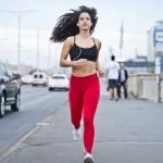 Woman running with earphones