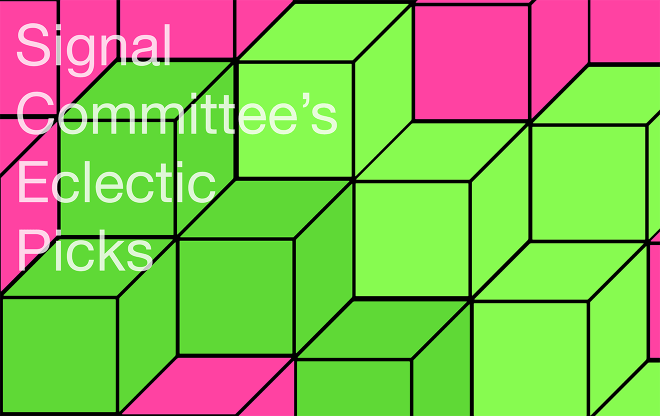 abstract image of non-isometric green and pink cubes