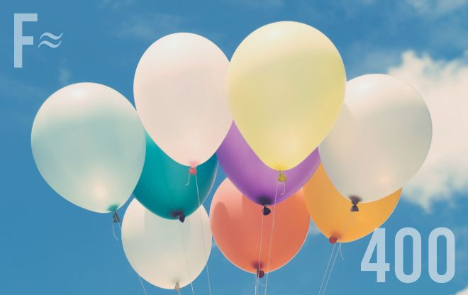 Balloons and the number 400