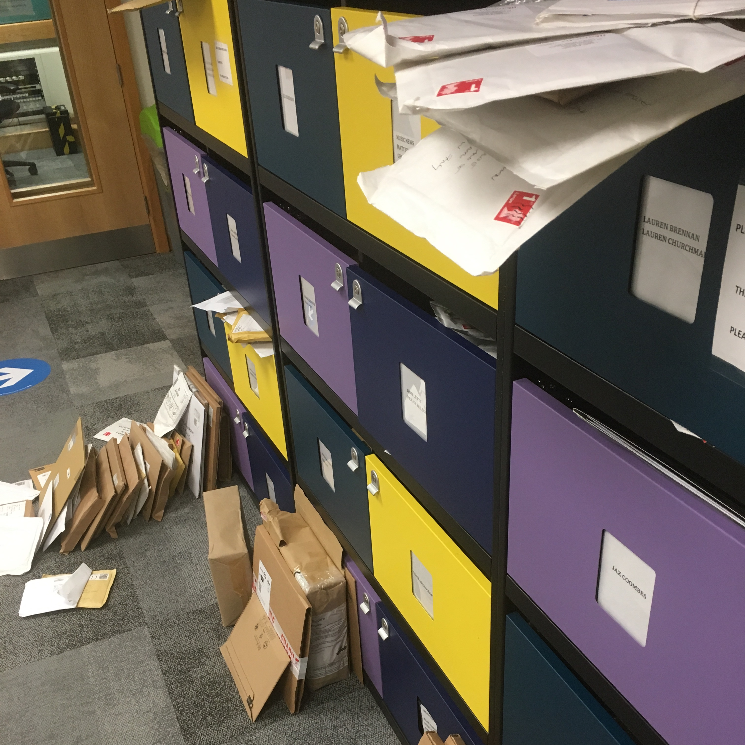 Mail lockers at the deserted 6 Music offices