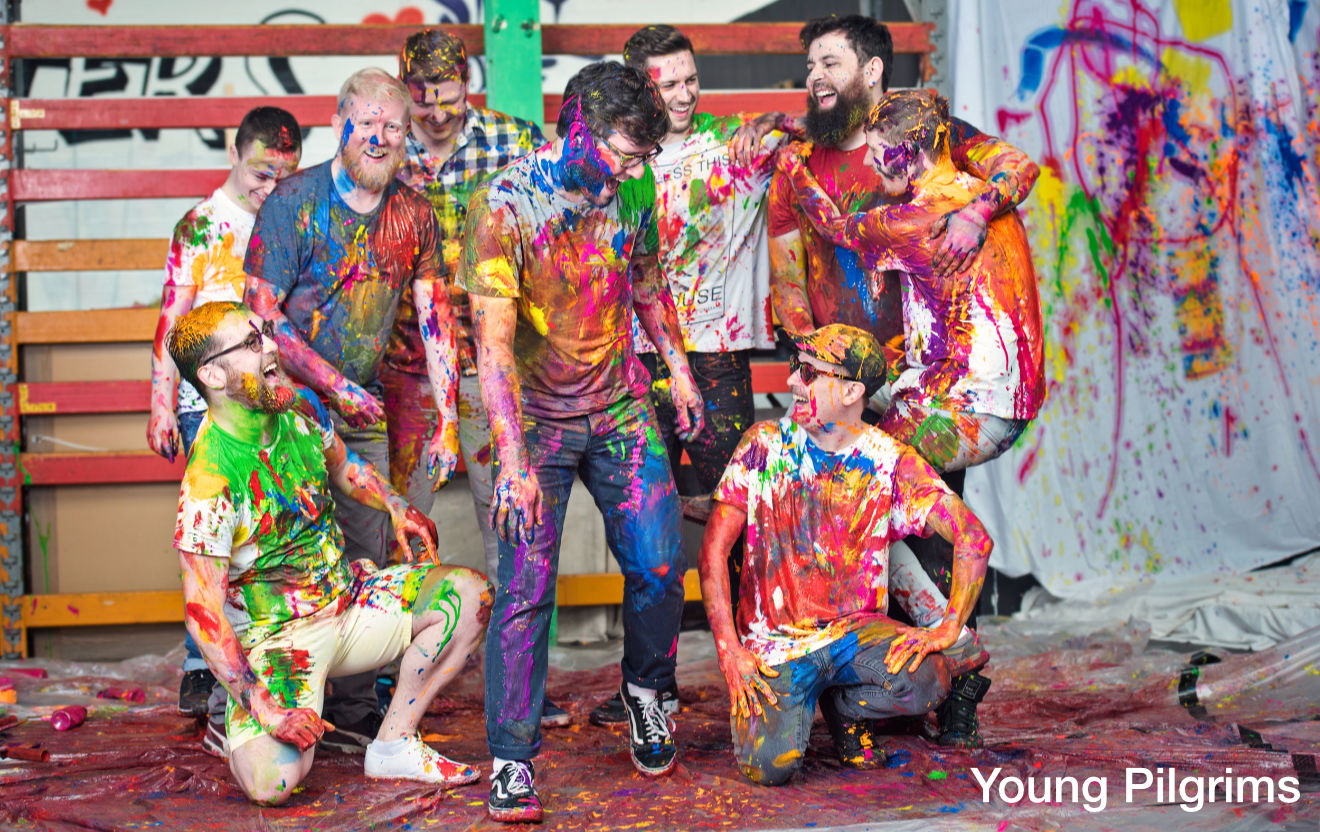 Young Pilgrims after a paint fight